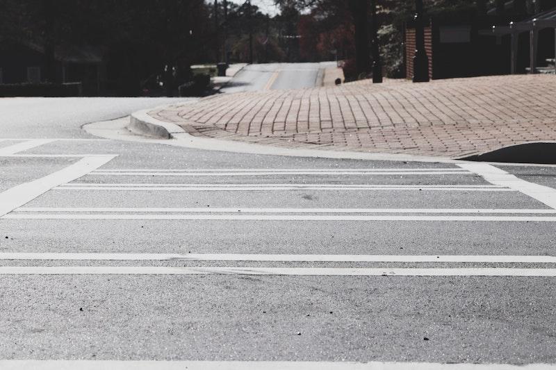 a curb cut and crosswalk